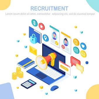 Recrutamento. computador isométrico, laptop com currículo cv. recursos humanos, rh. contratação de funcionários