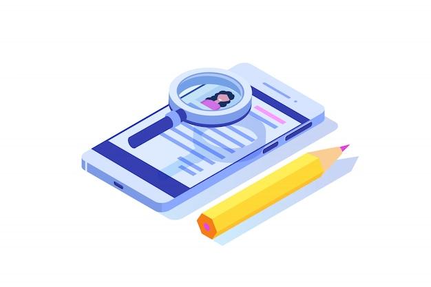Recrutamento, conceito isométrico de busca de emprego. use para apresentação, mídia social, cartões, banner da web. ilustração