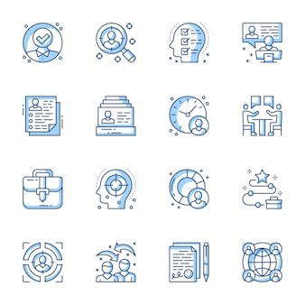 Recrutamento, conjunto de ícones linear de entrevista de emprego.