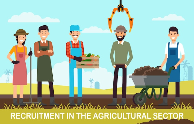 Recrutamento de banner plano no setor agrícola.