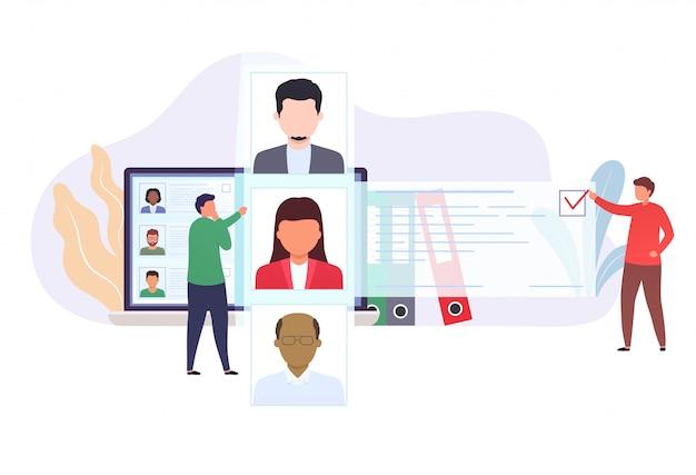Recrutamento de contratação de pessoal. os trabalhadores de escritório estão olhando a lista de candidatos a emprego. trabalhadores de escolha de conceito.