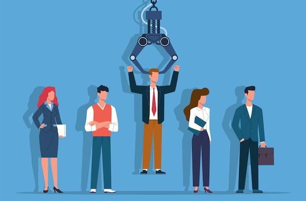 Recrutamento de empregos. recrutamento de empregos para empresas de empregos, recrutador de robôs escolhe o homem do grupo de pessoas, agência de empregos seleciona o candidato, processo de escolha de trabalhadores e conceito plano de vetor de competição