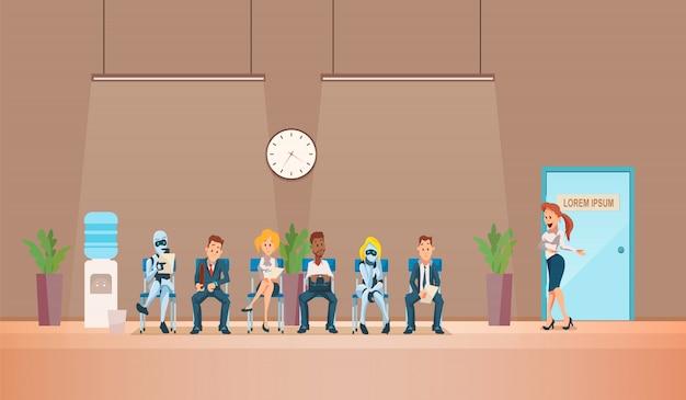 Recrutamento de entrevista de emprego e robôs. vetor.