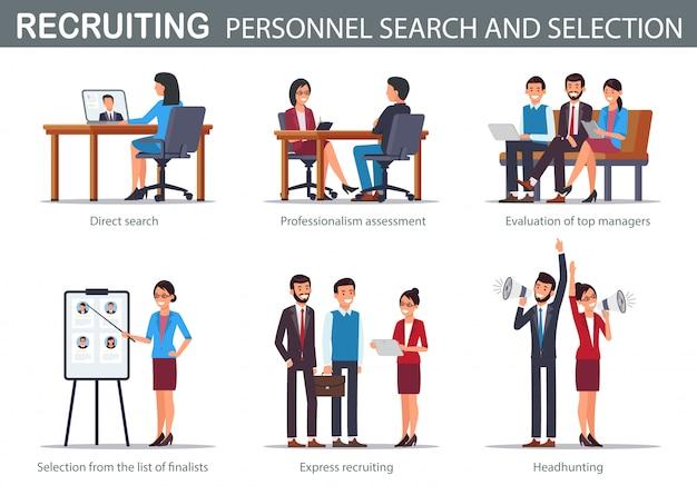 Recrutamento de pessoal e seleção de pessoal.
