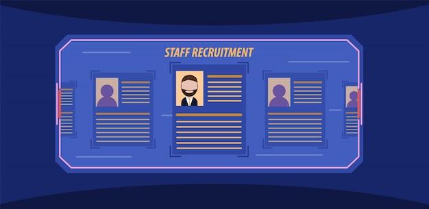 Recrutamento de pessoal. perfil do candidato na tela holográfica. recrutamento moderno. ilustração vetorial. estilo simples.