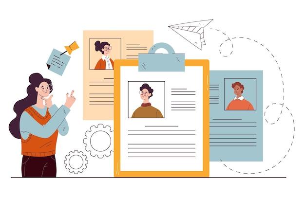 Recrutamento escolhendo currículo conceito head hunting