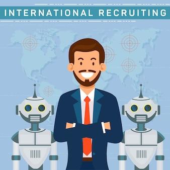 Recrutamento internacional, gerente de rh com robôs.