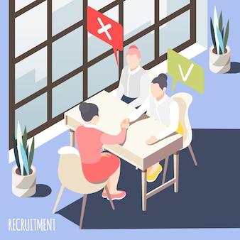Recrutamento isométrico com gerente fazendo a escolha de dois candidatos ao se candidatar a ilustração vetorial de emprego