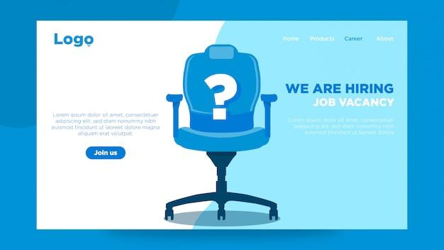 Recrutamento ou contratação de conceito de design de modelo de página de aterragem com cadeira plana