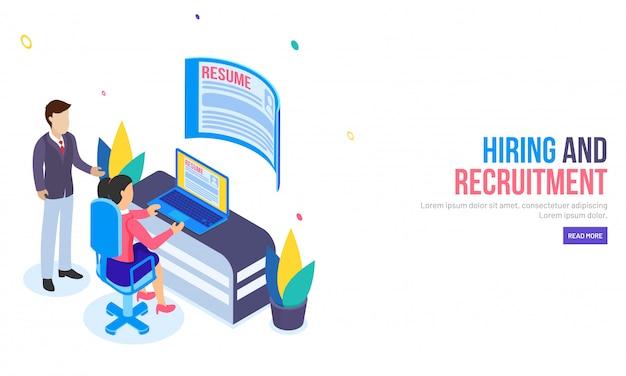 Recrutamento ou contratação de uma landing page baseada em conceito.