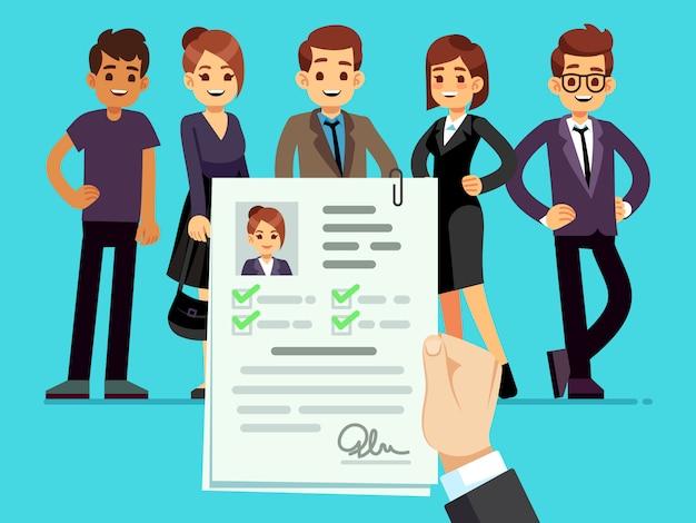 Recrutamento. recrutador escolhendo candidatos com ilustração de currículo feminino cv