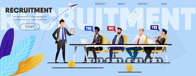Recrutamento. reunião de equipe. modelo de página de destino