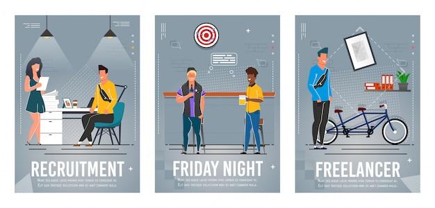 Recrutamento, sexta à noite, conjunto de cartaz de freelancer