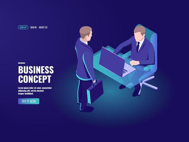 Recrutamento, vaga, entrevista de trabalho, empregado de banco de administração de consulta empresarial