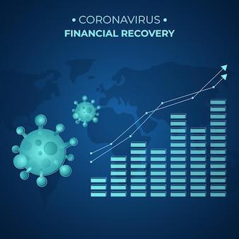 Recuperação financeira de coronavírus com gráfico crescente