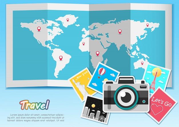 Recurso de câmera de viagem em torno do conceito de mundo