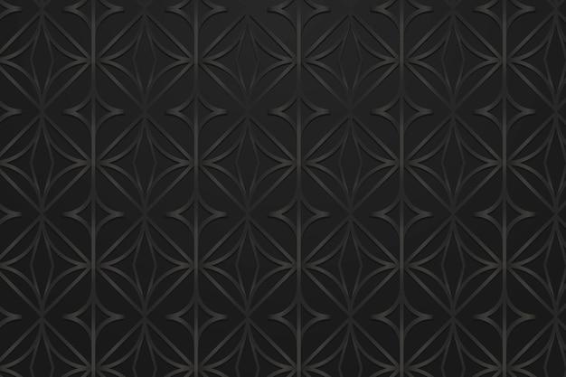Recurso de design de fundo com padrão geométrico redondo preto sem costura