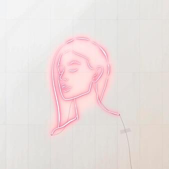 Recurso de design de letreiro de néon feminino