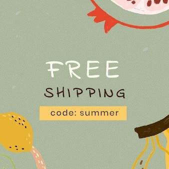 Recurso de design de modelo de venda de verão com frete grátis