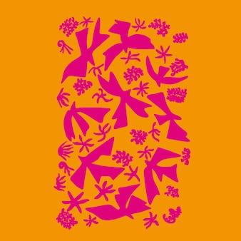 Recurso gráfico de ilustração de formas simples de pássaros e flores da natureza
