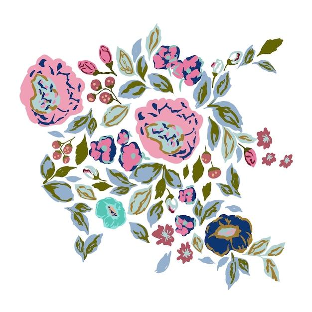 Recurso gráfico do motivo botânico de ilustração vetorial de flores e folhas