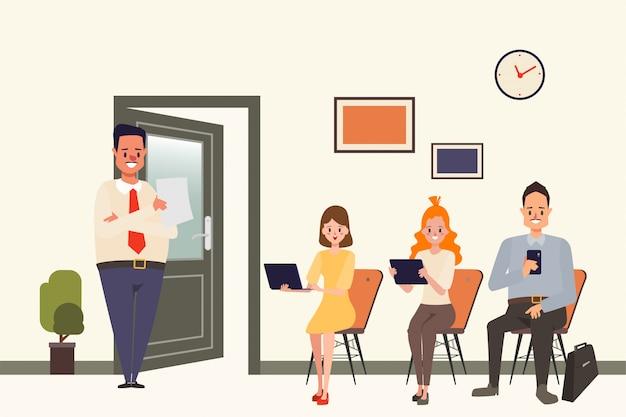 Recurso humano do negócio da entrevista de trabalho para o empregado.