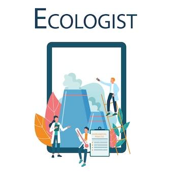 Recurso on-line de ecologista em dispositivo da web