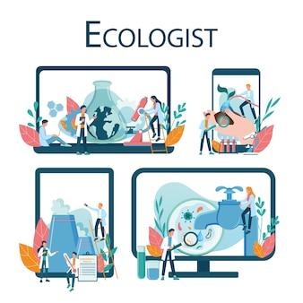 Recurso online de ecologistas em diferentes conjuntos de dispositivos. conjunto de cientista cuidando da ecologia e do meio ambiente. proteção do ar, solo e água. ativista ecológico profissional.
