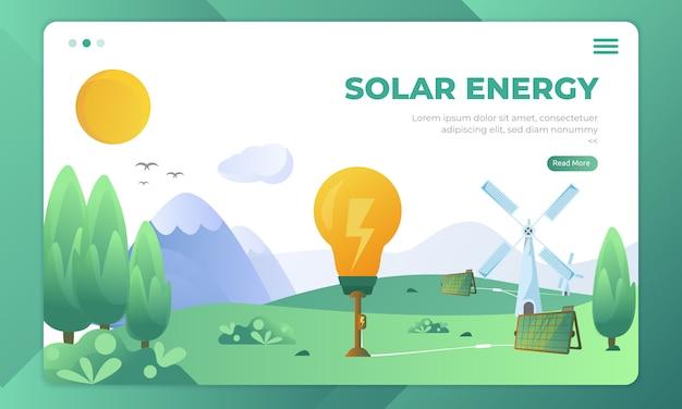 Recursos alternativos usando energia solar, ilustração natural na página de destino