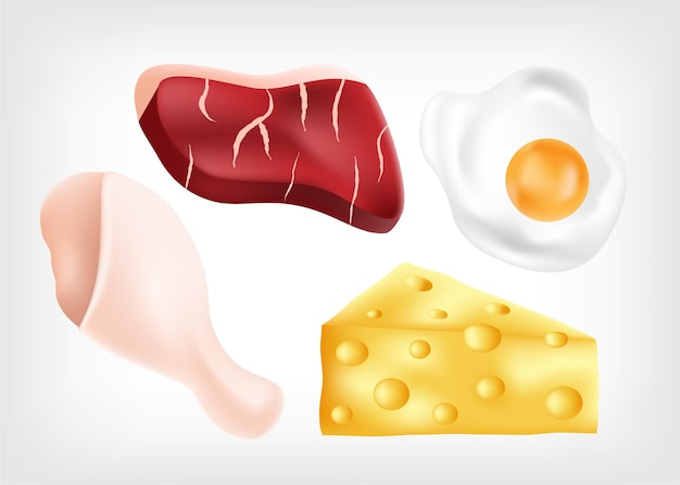 Recursos de proteína em alimentos como carne, frango, ovo e queijo