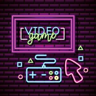 Recursos gráficos de videogame, controle, seta, parede de tijolos, estilo neon
