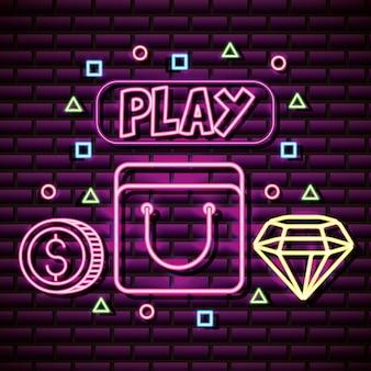 Recursos gráficos de videogame parede de tijolos, estilo neon