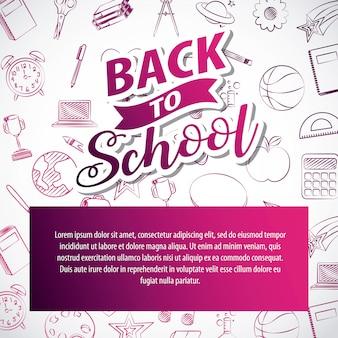Recursos gráficos relacionados ao retorno às aulas. ilustração