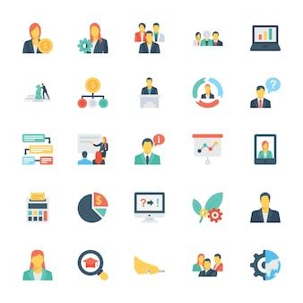 Recursos humanos e gestão de ícones coloridos