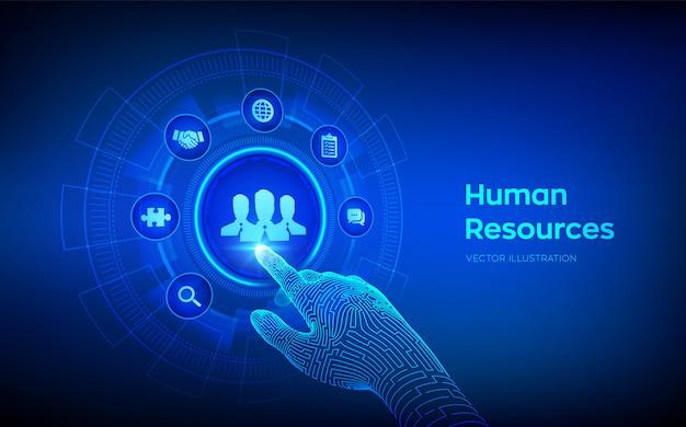 Recursos humanos. gestão de rh. mão robótica tocando interface digital.