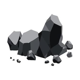 Recursos minerais de negro de carvão. pedaços de pedra fóssil.