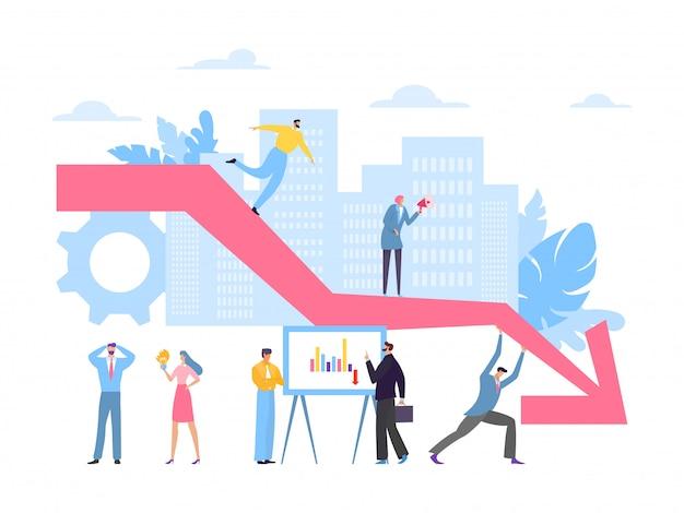 Recusar gráfico, caindo ilustração do conceito de negócio. situação econômica global, colapso do lucro. trabalhadores de homem e mulher