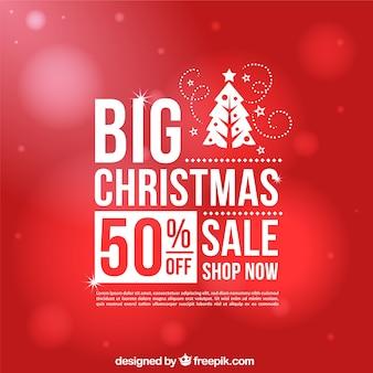 Red bokeh background de vendas de natal