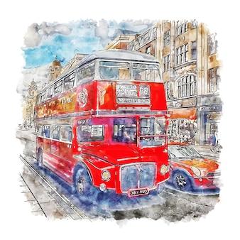 Red bus london esboço em aquarela mão desenhada ilustração