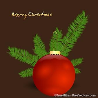 Red christmas bola com ornamentos