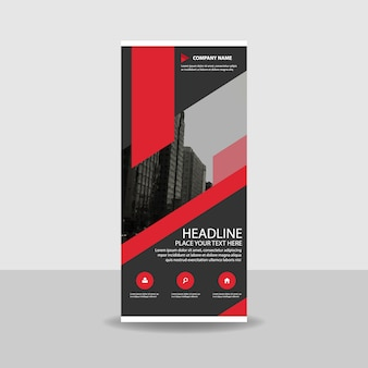 Red criativo roll up banner template