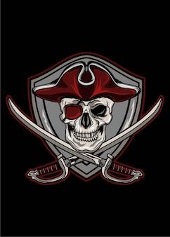 Red jolly roger skull