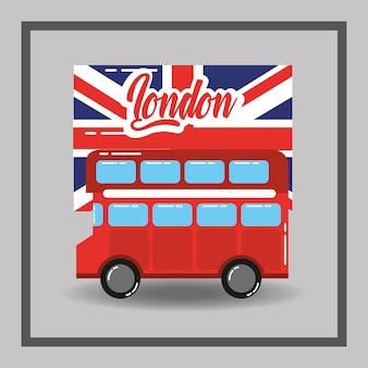 Red londres, de dois andares, ônibus, bandeira, transporte público