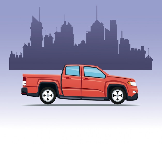 Red pick up double cab city background