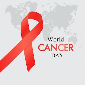 Red ribbon dia mundial do câncer sobre o mapa do mundo