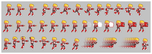 Red robot attack game sprites