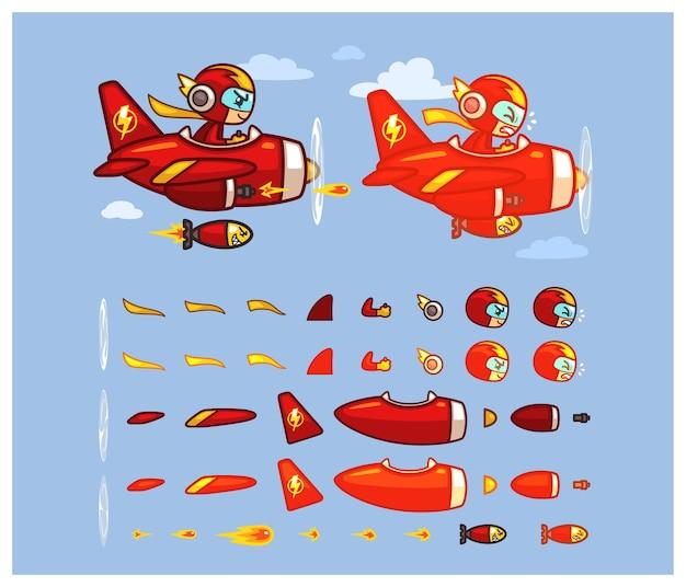 Red thunder plane game sprites