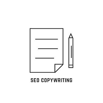 Redação de seo com documento de linha fina. conceito de blogging, redator, educação, palavras-chave, publicação, pesquisa. ilustração em vetor design de logotipo moderno tendência estilo plano no fundo branco