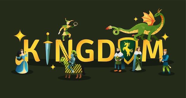 Redação dourada do reino medieval decorada com o título de personagens do conto de fadas rei rainha dragão