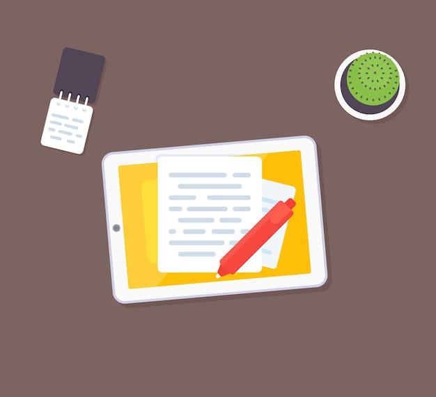 Redação e escrita de ilustração vetorial